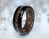 Irish bog Oak ring with deer antler.