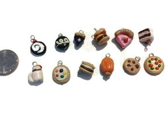 12 ct Assorted Charms - Polymer clay food, food charms, miniature food, jewelry making, handmade charms, kawaii, assorted charms, gag gifts