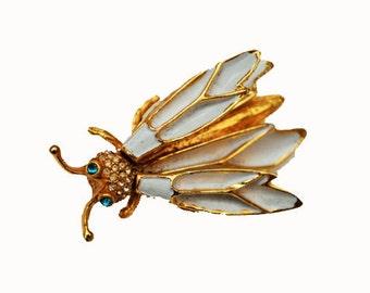Wasp Brooch gold tone white enamel rhinestone trembler brooch