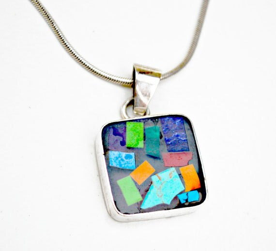Gemstone inlay  sterling pendant Necklace  = signed mexico - silver chain Italy - Lapis - Turquoise - Malachite