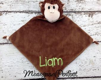 Personalized Brown Monkey Wee Blankie Cuddle Buddie