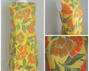 Vintage Yellow Hawaiian 1960's Sheath. Floral. Side Tie.