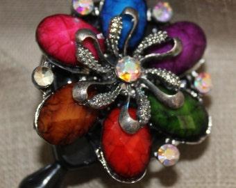 ID Badge Reel- Fall color stones -Flower  - Rhinestone Retractable ID Badge Clip Perfect for nurse, teacher, tech & Vet