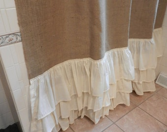 Burlap and Muslin Ruffled Shower Curtain.