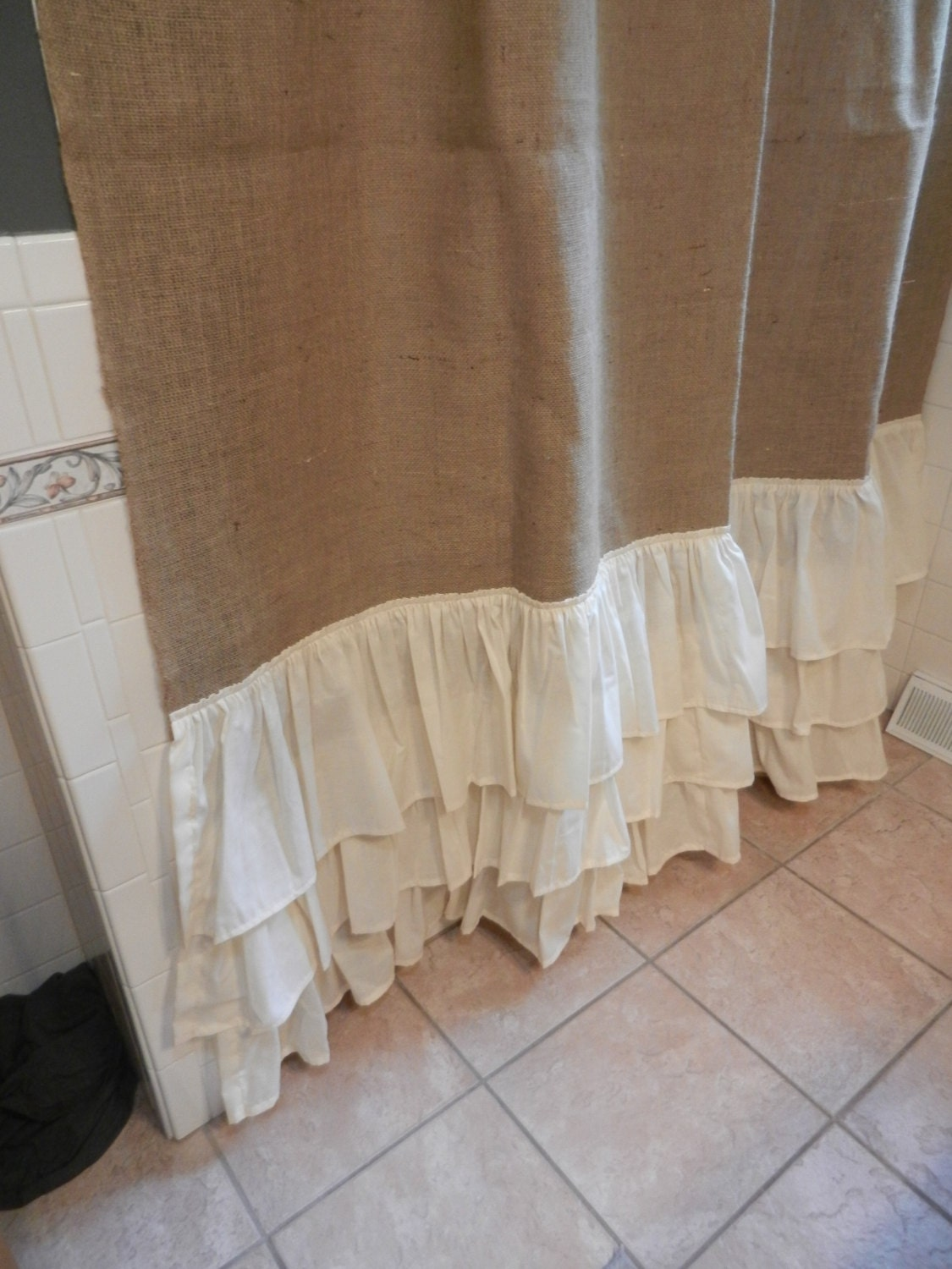 Burlap and Muslin Ruffled Shower Curtain. by CraftyAmour on Etsy