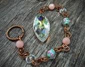 Sun Catcher Aurora Borealis with Morganite Gemstone and Lampwork Rose Glass Beads