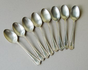 Vintage hotel flatware Silver plated dessert spoons set for 8 Findon Manor Gladwin Embassy plate Art Deco silverware