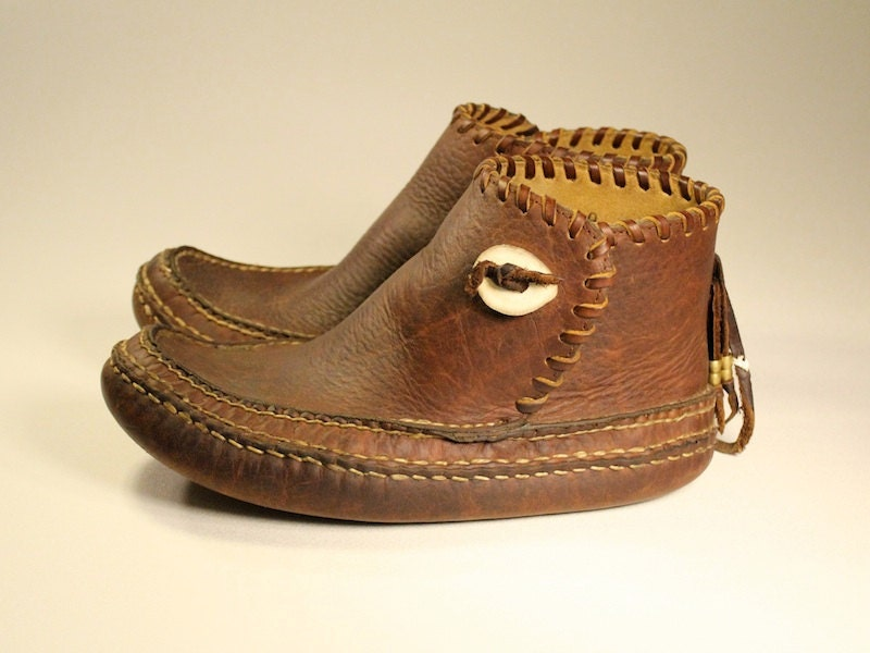 Hand Stitched Buffalo Hide Hunting Moccasins