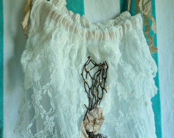 Tank Top Fisherman's Daughter Ivory Sand Cotton Spa Pool Cover Up Womens Vintage