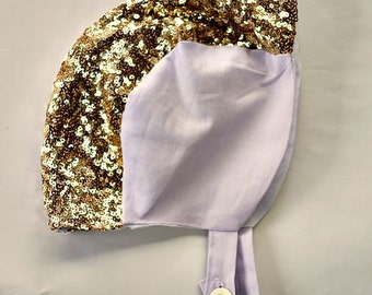 Vintage Recital Bonnet Cap Baby Girl Toddler Child Hat Lilac Purple with Gold