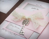 Vintage Wedding Invitations - Lace Wedding Invitations - Skeleton Key Invitations - Lace Invitations - Unique Invitations - Letter Style
