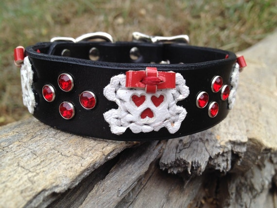 """Cool custom leather dog collar 1"""" with white leather skulls with girly red patent leather bows and red rhinestones"""