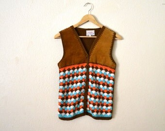 Vtg 70's Leather And Knit Vest...