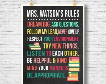 Personalized Classroom rules poster school printable classroom rules Teacher printable teacher gift Printable, Classroom printable