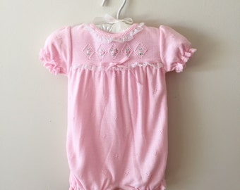 Vintage Carter's Pink Acrylic Sweater Onesie with Pearls, Like New, Size 3 Months