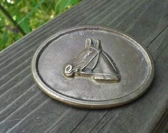Vintage Brass Belt Buckle Horse Head
