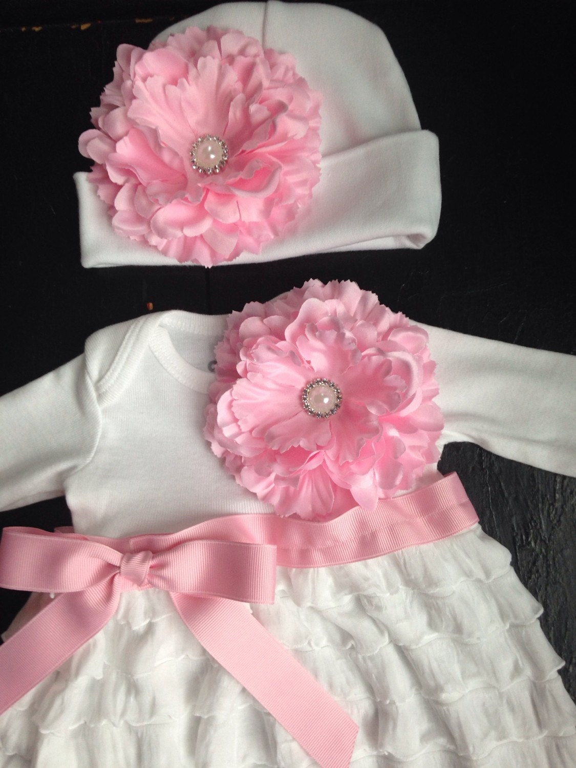 Baby Girl White Ruffle Coming Home Outfit, Take Home Outfit, Going ...