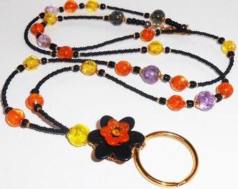 Beaded Halloween ID Lanyard, Teacher ID Badge Lanyard, Womens Accessories, Badge Lanyard, Beaded Lanyards, Colorful Lanyards, Teacher ID