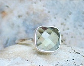 ON SALE Faceted Green Amethyst sterling silver cushion square shape stacking bezel set ring - February Birthstone