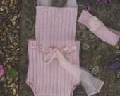 Stunning Upcycled Pink Angora Newborn Romper & Headband, RTS, UK Seller - SALE