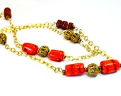 "Long (40"") and sexy, rich red Coral nugget, African filgreed brass and Tibetan inlaid mala necklace, ethnic jewelry, tribal,bohemian,Scorpio"