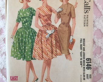 vintage mc calls pattern 1961 dress w slim or full skirt size 32 bust