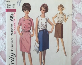 "vintage simplicity pattern 1965 dress  5895 bust 31"""