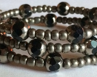 "Beautiful ""Steel Cathedral"" Beaded Memory Wire Bracelet"