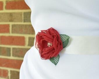 Watermelon Wedding - Bridal Sash - Red and Green Floral Wedding Sash - Bridal Flower