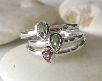 August October Ring Set- Stackable Birthstone Ring- Statement Stacking Ring- Pink Green Ring- Pear Shape Ring Set- Trio Gemstone Silver Ring