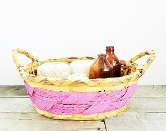 SALE - Painted Vintage Basket - Lilac Pink - Upcycled Handpainted Basket - Modern Farmhouse - Organization