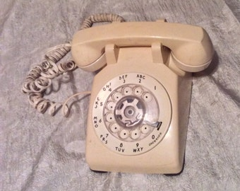 Vintage Beige Tested & WORKING Rotary Dial Telephone or Phone from Indiana Bell