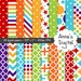"Rainbow Digital Papers - Matching Solid Included - 28 Papers - 8.5"" x 11"" - Instant Download - Commercial Use (082)"