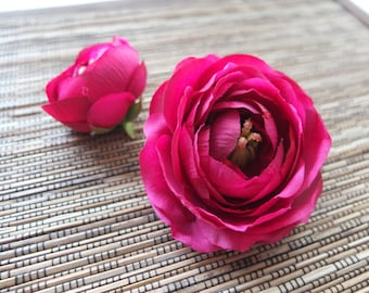 A pair of Fuchsia Pink Ranunculus Hair clips, Wedding Accessories, Wedding Hair Flowers