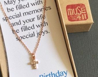 Tiny Cross Necklace, Dainty Cross necklace, Dainty jewelry, Layering necklace, layered  Necklace, Christian jewelry, rosegold jewelry, Cross