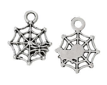 10 Pieces Antique Silver Spider Web Charm Pendants