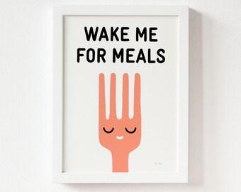Silkscreen, Illustration, Wake Me For Meals