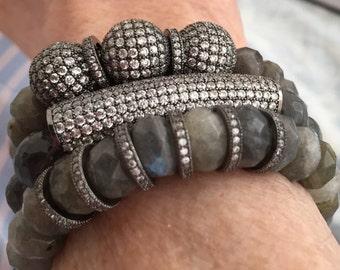 SALE! One 12mm Pave bead, herkimer round diamond bead, gun metal, for bracelet,necklace,earrings, gorgeous, hand set quartz diamond