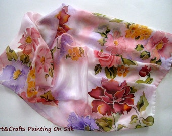 Hand Painted Silk Scarf Flowers.Violet Rose Yellow Red Rosessilk scarf.Unique Scarf. Made for Her.