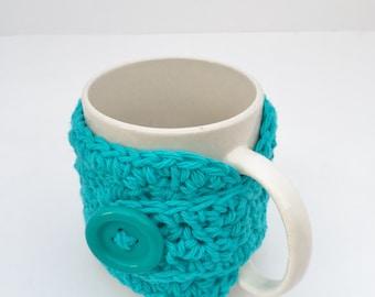 Crochet Coffee Cup Cozy Teacher Gift Stocking Stuffer Crochet Teal Blue Green Black Friday Christmas