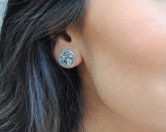 gunmetal grey stone stud earrings