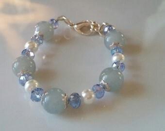 Girls Blue Bead & Pearl Bracelet
