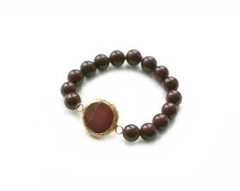 Burgundy Jade Connector with Brown Jade Beads Elastic Bracelet