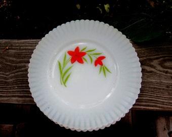 macbeth evans monax petalware opalescent fleur red flower 3 plates