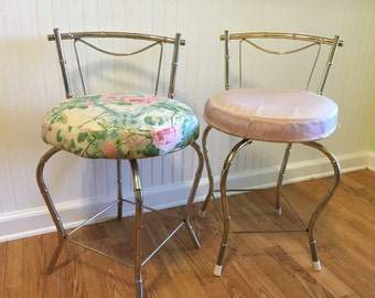FAUX BAMBOO SwiveL Stools 2 Available George Koch Vanity Chair Chinoiserie Faux Bamboo Chair Stool Hollywood Regency at Ageless Alchemy
