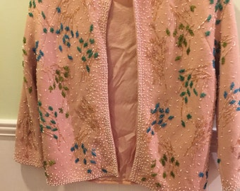 BEADED PEACH CARDIGAN Sweater Jo Ro Imports Made in Hong Kong Miami, Florida 1950s Wool Beaded Hollywood Regency at Ageless Alchemy