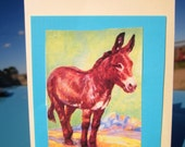 3 Cards for 5 Dollars: Handmade Dimensional Donkey Greeting Cards with Envelopes (Set A)
