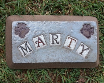 Custom - Pottery Garden Stone or Burial Grave Marker - Stoneware Clay - For Pet Memorial -  Beveled Rectangle Plaque