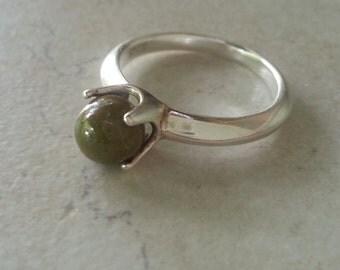 Memorial Ring - Custom Keepsake Stoneware Pottery Pet Cremains Bead Sterling Silver Ring - TERRENE