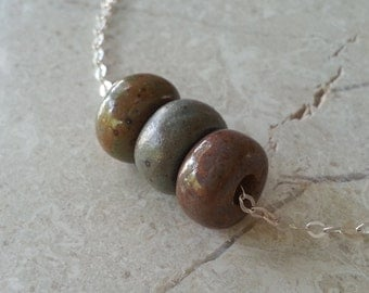Memorial Bead Necklace - Custom Keepsake Stoneware Pottery Pet Cremains Pendant - Choose Size and Color - TRIPLE PONY BEAD